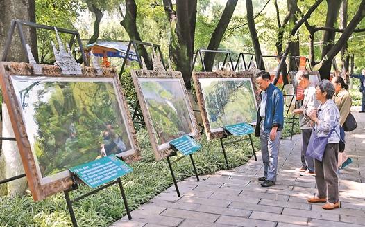 昆明:环保画展吸引游客